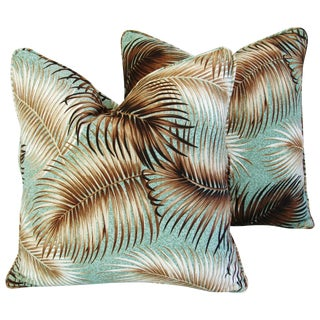 Mid-Century Palm Leaves Barkcloth Pillows - Pair