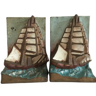 Vintage Sailboat Bookends - A Pair