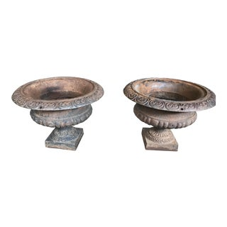 Antique Cast Iron Urns - a Pair