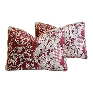 """Custom Clarence House Fabric Feather/Down Pillows 22"""" X 16""""- Pair"""