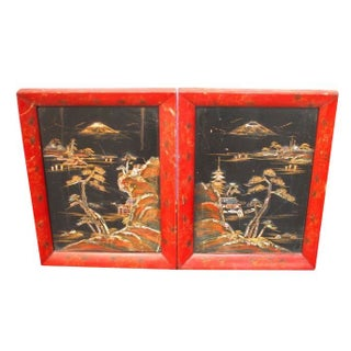 Asian Antique Lacquer Inlay Pictures