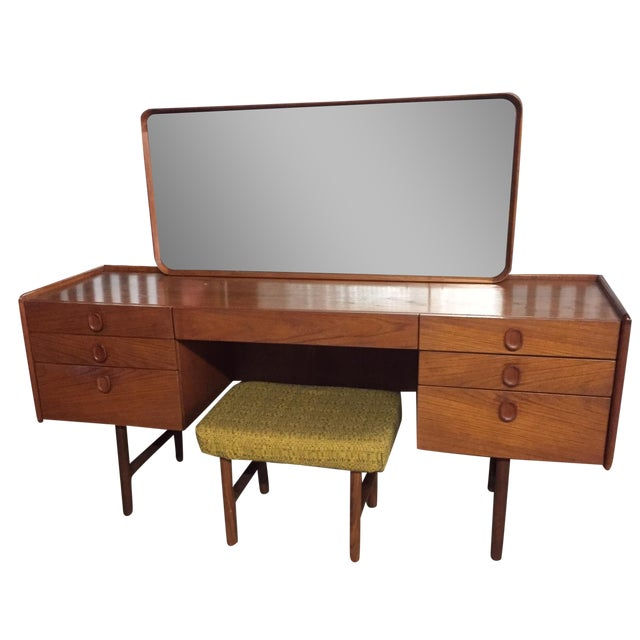 Image of Mid-Century Danish Modern Teak Vanity Desk & Stool