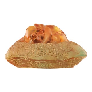 LiuliGongfang Crystal Piglet on Pillow Figurine