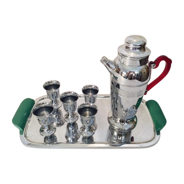 Chrome Cocktail Service Tray Shaker Glasses - Image 1 of 6