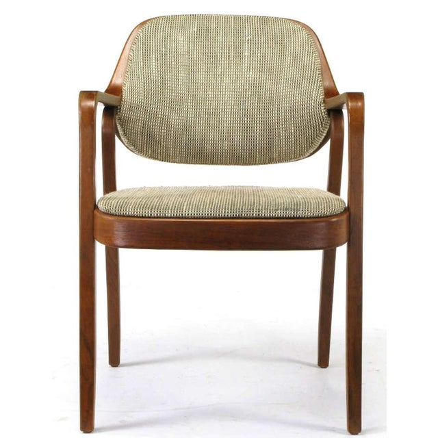 Pair Don Pettit for Knoll Bent Mahogany Wood Arm Chairs Circa 1978 - Image 2 of 6