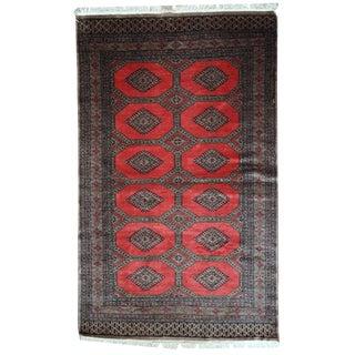 1970s Hand Made Vintage Uzbek Bukhara Rug - 4′1″ × 6′9″