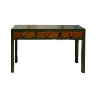 Rustic Fabric Green Lacquer 3-Drawers Desk Table
