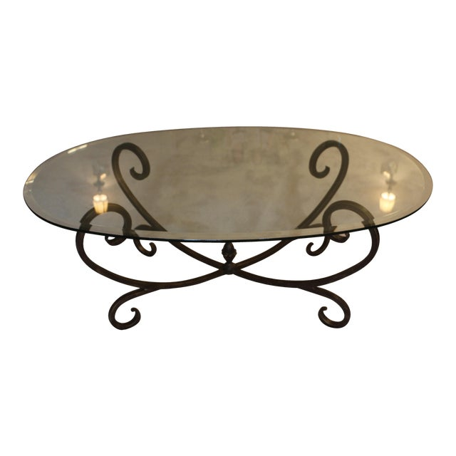Coffee Table With Bronze Legs: Oval Glass Coffee Table With Rubbed Bronze Finish Legs