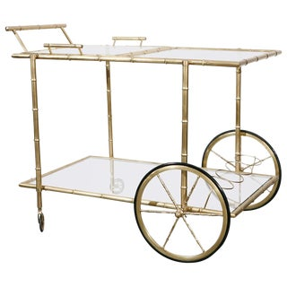 1940's Faux Bamboo Brass Bar Cart