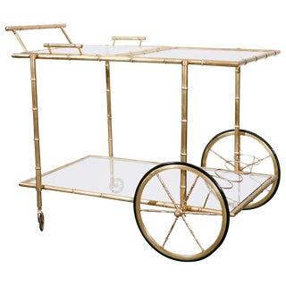 1940's Faux Bamboo Brass Bar Cart