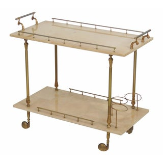 Aldo Tura Brass & Parchment Bar Cart
