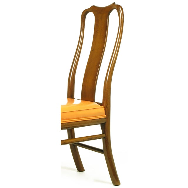 Image of Six Walnut and Tooled Leather Splat-Back Dining Chairs
