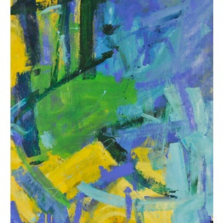 Yellow, Blues, Greens Acrylic Abstract Painting