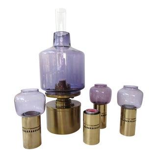 Hans-Agne Jakobsson Brass & Glass Lantern & Candlestick Set - Set of 5
