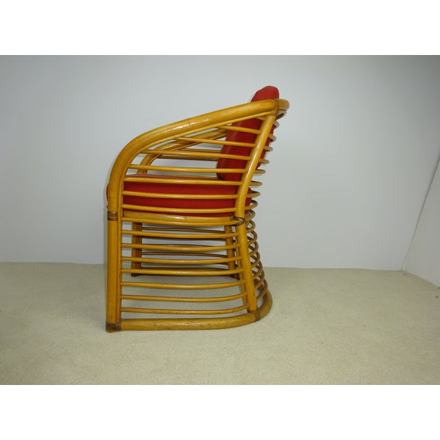 Mid-Century Deco Stylized Rattan Arm Chair - Image 7 of 10