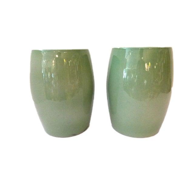 Celadon Garden Stools - A Pair - Image 3 of 6