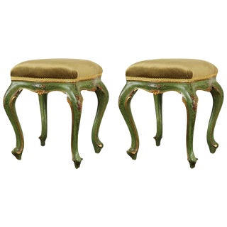 Pair of Painted, Emerald, Venetian Stools