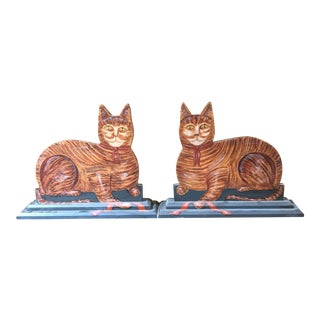 Vintage Lew Hudnall Hand-Painted Wooden Cat Sculptures - A Pair