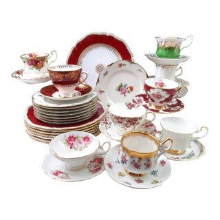 Mismatched Antique China Dinnerware - Service for 8