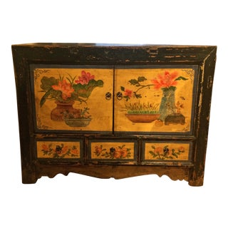 Antique Chinese Black Painted Elm Cabinet Console