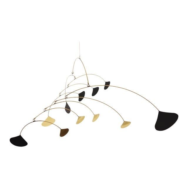 Image of Vintage Brass & Black Metal Abstract Mobile