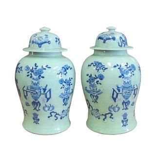 Chinese Blue Porcelain Temple Jars - A Pair