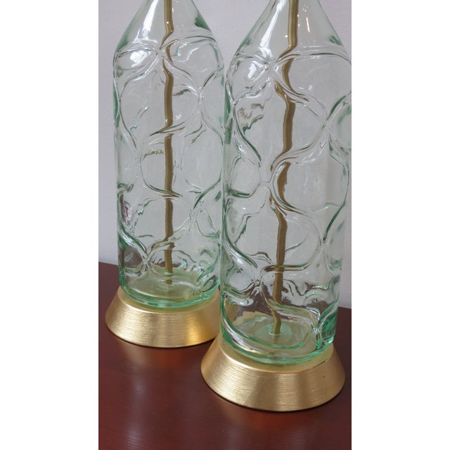 Image of Modern Green Blown Glass Lamps - A Pair
