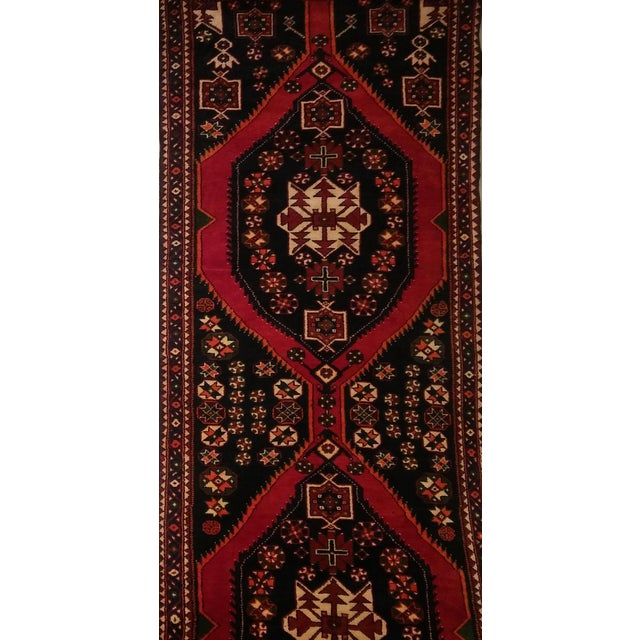 """Navy & Red Persian Tribal Runner - 3'7"""" X 9'10"""" - Image 5 of 5"""