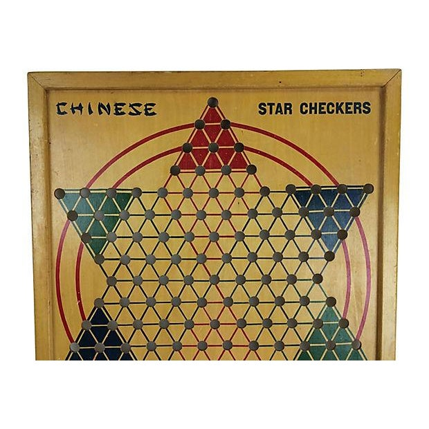 Milton Bradley 1940s Wood Chinese Checker Board - Image 2 of 3