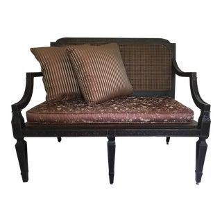 Milling Road Cane Back Bench With Burgundy Silk Cushion & 2 Silk Pillows