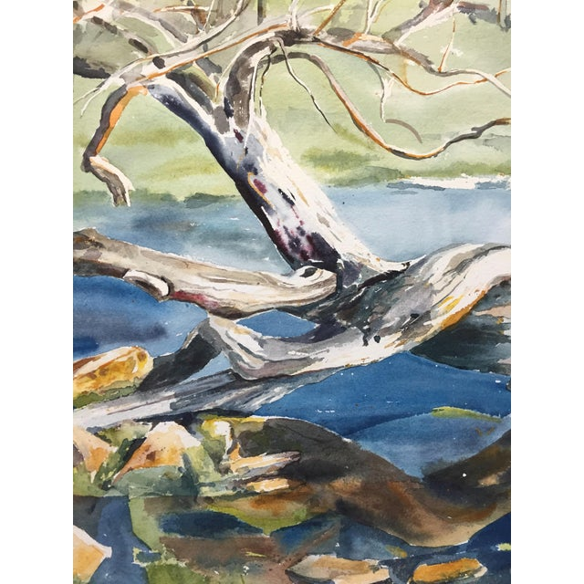 Image of Thelma Moody 1960s Tree in River Painting