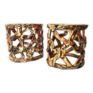 Tony Duquette Round Side Tables Glasstop - a Pair