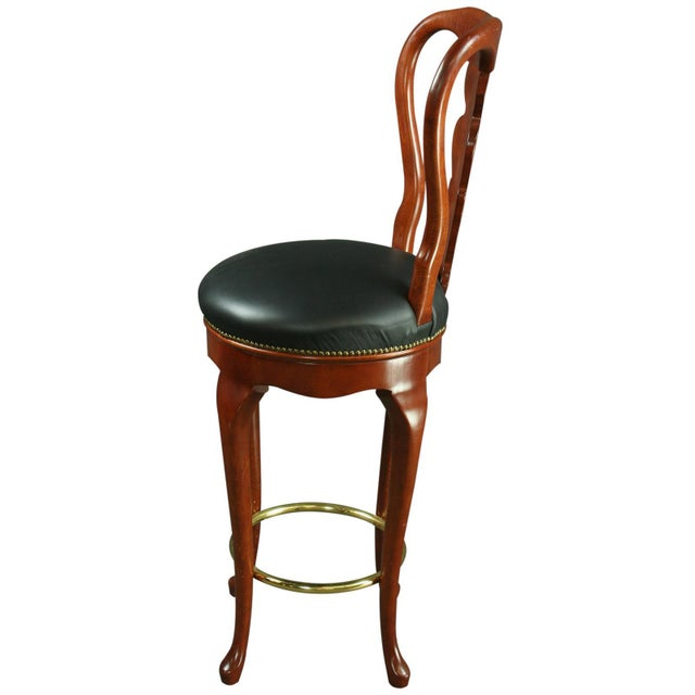 Queen Anne New Bar Stools Mahogany/Faux - A Pair - Image 4 of 6