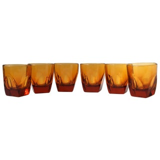 Amber Colored Whiskey Glasses - Set of 6