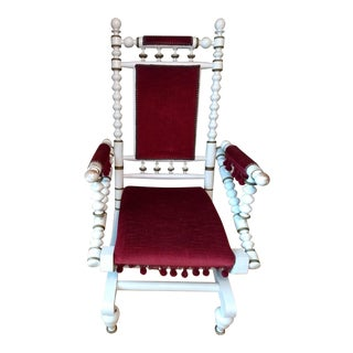 Wood Spindle Red Velvet Rocking Chair