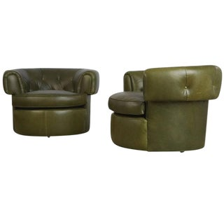 Pair of 1950s Tufted Barrel Chairs in Forest Green Leather, Restored