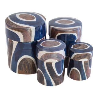 Vintage Blue Mid Century Stoneware Pottery Kitchen Canister - Set of 4