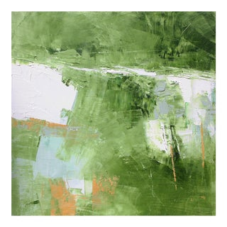 Small Square Greens Whites Grays Abstract Landscape Oil Painting by Paul Ashby