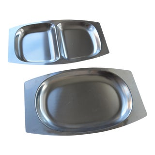 Danish Modern Stainless Serving Trays - A Pair
