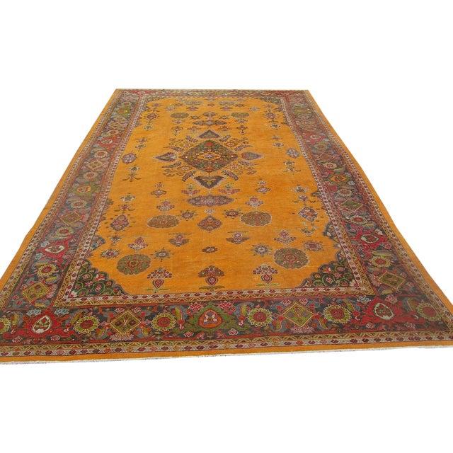 Antique Persian Orange/Green Oushak Style Rug - Image 1 of 9