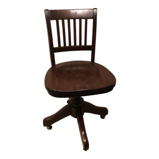 Vintage American Wooden Reclining Desk Chair