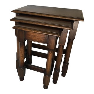 Set of 3 Nesting Tables Jacobean Style