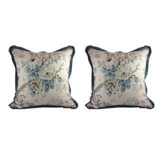 "Lee Jofa ""Garden Roses"" in Aqua & Beige Pillows - a Pair"
