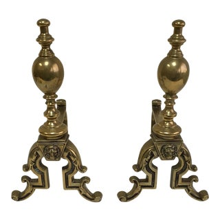 English Brass Lion Andirons - A Pair