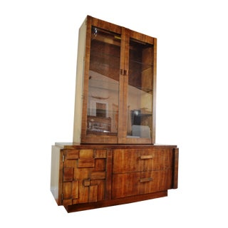 Lane Mid-Century Brutalist China Cabinet