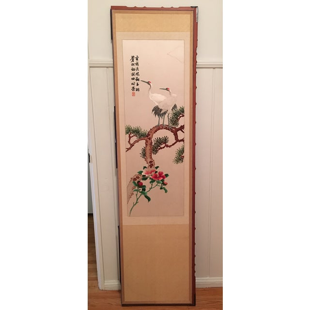 Silk Embroidered Chinoiserie Panels - Pair - Image 3 of 10