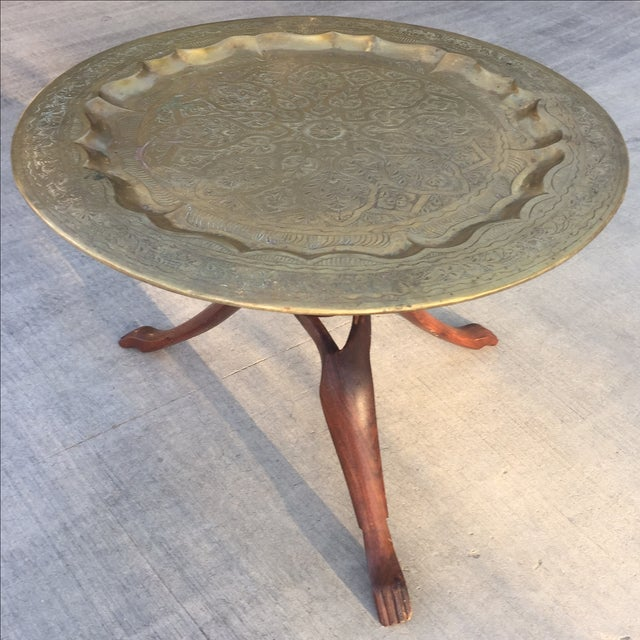 Image of Vintage Morrocan Style Brass & Wood Mini Table
