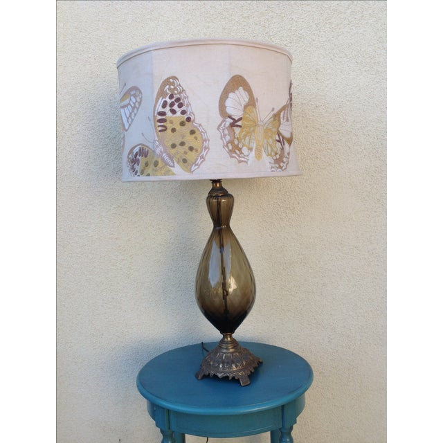 Anthropologie Lamps: Mid Century Topaz Lamp & Anthropologie Embroidered