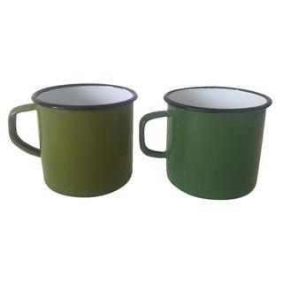 Vintage Mid-Century Green Enamelware Mugs - A Pair
