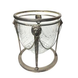 Vintage Mid Century Diamond Cut Glass & Lion's Head Detail Ice Bucket